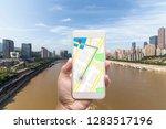 mobile gps navigation on mobile ... | Shutterstock . vector #1283517196