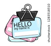 """badge with the words """"hello""""... 