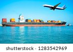 logistic and transportation ... | Shutterstock . vector #1283542969