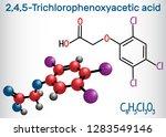 2,4,5-Trichlorophenoxyacetic acid (2,4,5-T) molecule. Structural chemical formula and molecule model. Vector illustration