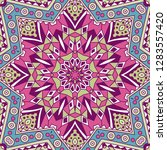 colorful tribal doodle ethnic... | Shutterstock . vector #1283557420