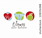 fitness drawing over white... | Shutterstock .eps vector #128356388