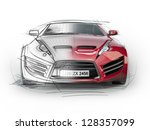 sketch drawing of a sports car. ... | Shutterstock . vector #128357099