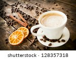 a cup of tea and biscuits and... | Shutterstock . vector #128357318