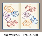 Colorful visa stamps (not real) on passport pages. International business travel concept. Frequent flyer visas.