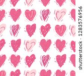 pink hearts. vector seamless... | Shutterstock .eps vector #1283576956
