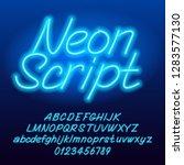 neon script alphabet font. blue ... | Shutterstock .eps vector #1283577130
