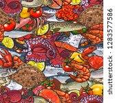 vector sketch seafood seamless... | Shutterstock .eps vector #1283577586