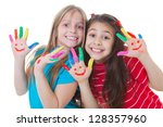 happy kids playing paint with... | Shutterstock . vector #128357960