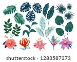 cute tropical stickers and... | Shutterstock .eps vector #1283587273
