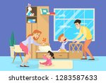 little children cry and paretns ... | Shutterstock .eps vector #1283587633