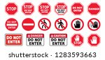 stop signs do not enter danger... | Shutterstock .eps vector #1283593663