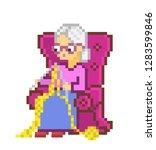 grandmother in armchair... | Shutterstock .eps vector #1283599846