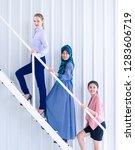 team up business woman is... | Shutterstock . vector #1283606719