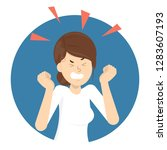 angry woman. bad emotion and... | Shutterstock .eps vector #1283607193