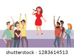 woman singer standing on stage... | Shutterstock .eps vector #1283614513
