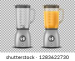 Set of Realistic Juicer blender. Kitchen blender with orange juice and empty, drink 3d mixer isolated. vector illustration
