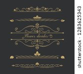 set of gold calligraphical ... | Shutterstock .eps vector #1283625343