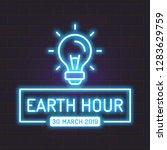 neon earth hour vector neon... | Shutterstock .eps vector #1283629759