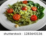 plate of tasty color pasta with ... | Shutterstock . vector #1283643136