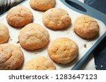 tasty cookies on board  closeup | Shutterstock . vector #1283647123