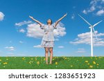 happy young woman standing with ... | Shutterstock . vector #1283651923