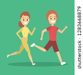 couple of jogger run together.... | Shutterstock .eps vector #1283668879