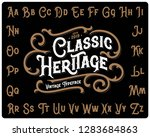 Stock vector vintage font set named classic heritage with decorative ornate on black background 1283684863