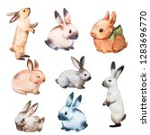 Stock photo rabbit watercolor set flat illustration isolated colorful cute baby bunny collection pretty 1283696770