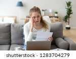 upset frustrated girl reading...   Shutterstock . vector #1283704279