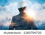 the double exposure image of... | Shutterstock . vector #1283704720