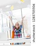 creative businesswoman throwing ...   Shutterstock . vector #1283705506