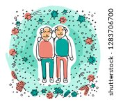 elderly gay couple on blue... | Shutterstock .eps vector #1283706700