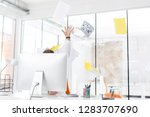furious businessman throwing...   Shutterstock . vector #1283707690