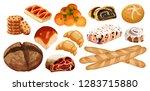 set vector bread icons. rye ... | Shutterstock .eps vector #1283715880