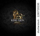 vector emblem with golden lion | Shutterstock .eps vector #1283720230