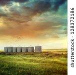 Prairie Grain Silos In Late...