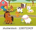 farm animal happy character... | Shutterstock .eps vector #1283722429
