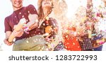 happy friends having fun at... | Shutterstock . vector #1283722993