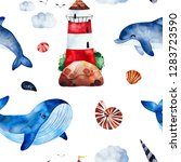 underwater creatures.watercolor ... | Shutterstock . vector #1283723590