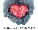female hands wearing woolen... | Shutterstock . vector #1283726359