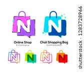 letter n logotype colorful on... | Shutterstock .eps vector #1283728966