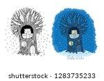 winter tale. cute cartoon owls... | Shutterstock .eps vector #1283735233