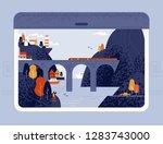 train window view on seaside... | Shutterstock .eps vector #1283743000
