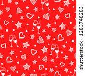 seamless red romantic pattern.... | Shutterstock .eps vector #1283748283