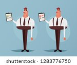 cute worker holding documents ... | Shutterstock .eps vector #1283776750