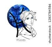 zodiac sign pisces. beautiful...   Shutterstock . vector #1283784586