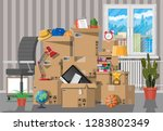 moving to new house. family... | Shutterstock .eps vector #1283802349
