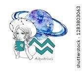 zodiac sign aquarius. beautiful ...   Shutterstock . vector #1283803063