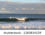 waves in a ocean swim to shore   Shutterstock . vector #1283814139